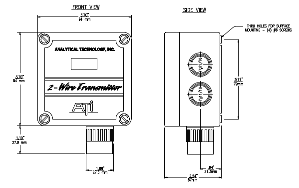 The dimensions of the B12 Gas Transmitter