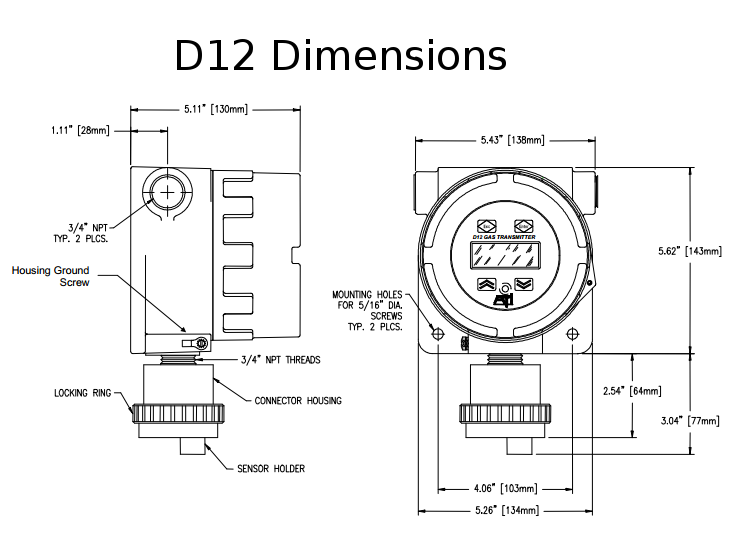 D12 Sensor Dimensions