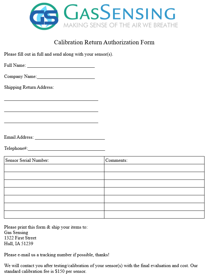 Calibration Return Authorization Form