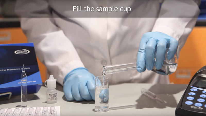 Fill the sample cup to 25ml