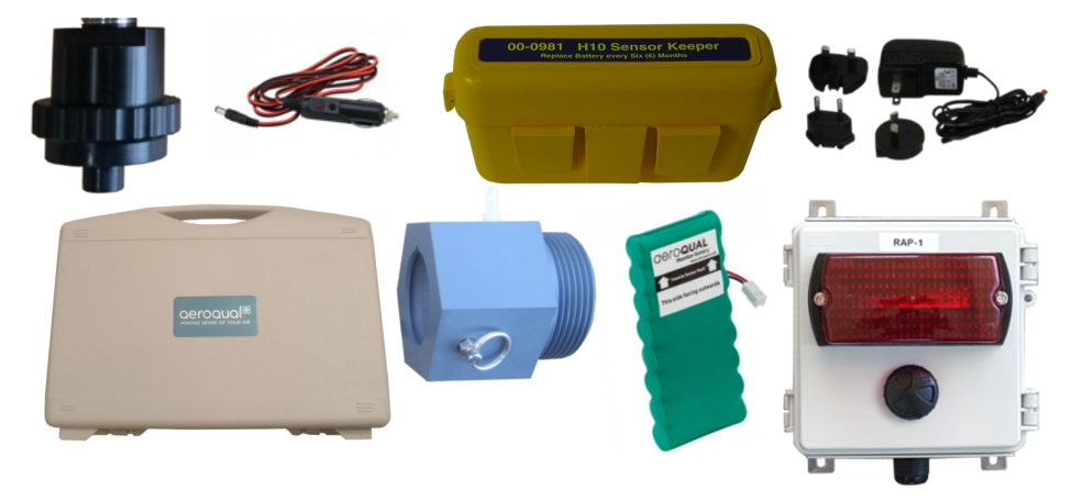 Accessories from Gas Sensing including carrying case, charger, power cord, and sensor holder