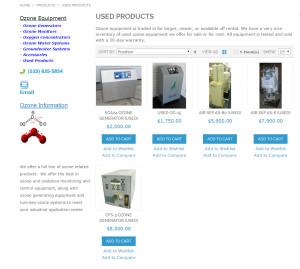 Used ozone equipment